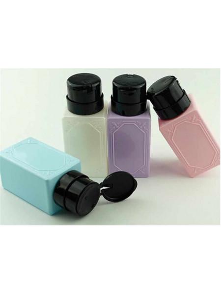 Дозатор пластиковый для жидкостей 200 мл. с помпой прямоугольный (в ассортименте)