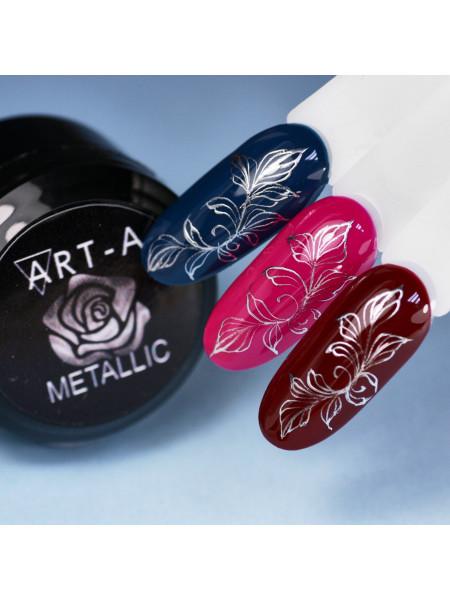 Гель-краска для дизайна ногтей металлик серебро Art-A