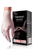 Перчатки виниловые BENOVY, XL, прозрачные, 100штук/50пар